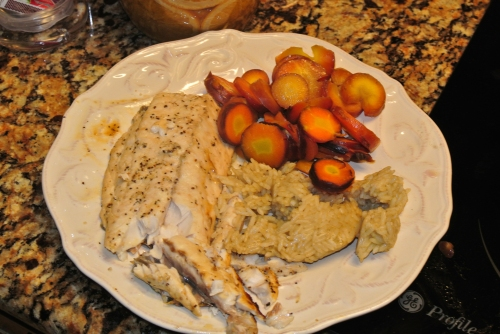 My plate - Speckled Trout filet, my carrots and the limey rice.