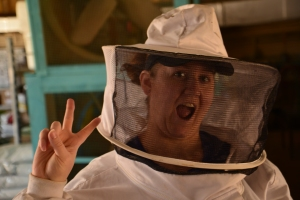 Daughter Lisa geared up and ready to play with the bees.