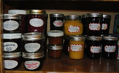 The Pantry - Lots of Strawberry, Lemon Curd and Dewberry. Also a dab of 2013 leftovers, Pomegranate Jelly, Chipotle Peach jam, a blended jam - Blackberry/Dewberry/Strawberry and some Serrano Pepper Jelly.
